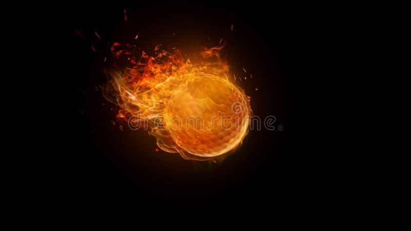 Pelota de golf en el fuego que quema, falta de definición de movimiento imagen de archivo