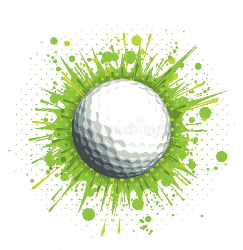 Pelota de golf en fondo verde stock de ilustración