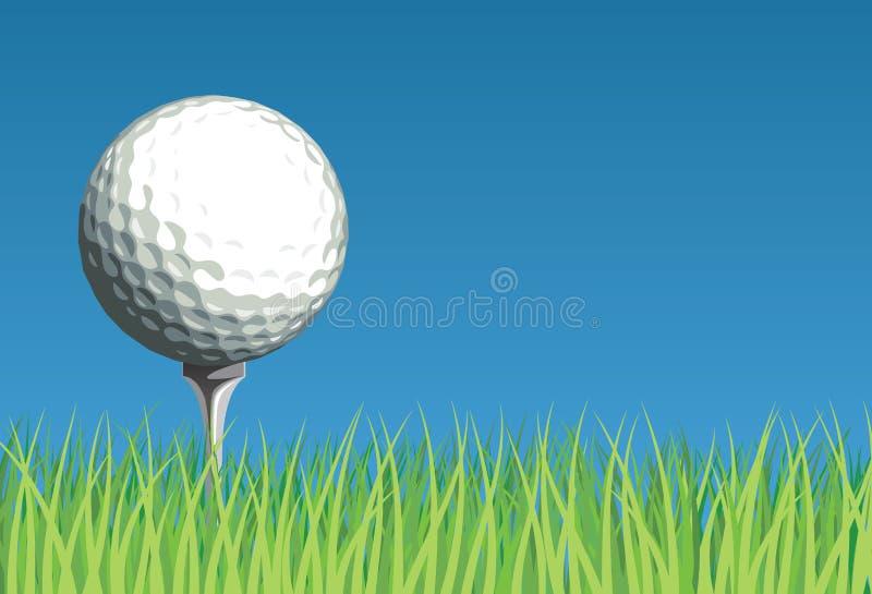 Pelota de golf en hierba stock de ilustración