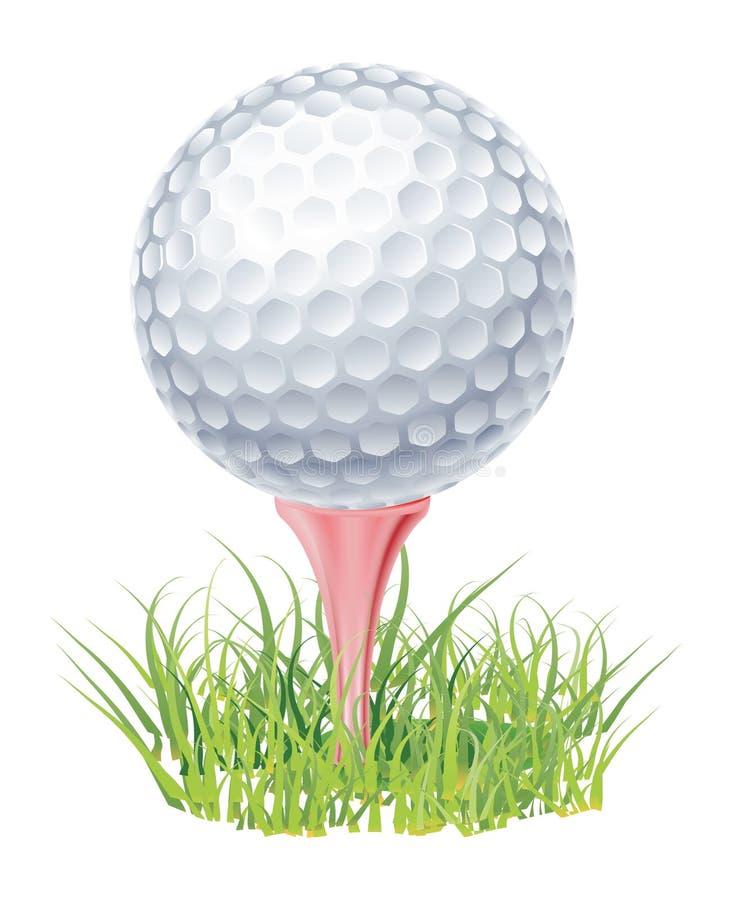 Pelota de golf en hierba verde stock de ilustración