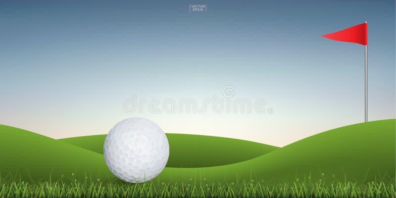 Pelota de golf en la colina verde de la corte del golf con el fondo del cielo de la puesta del sol stock de ilustración