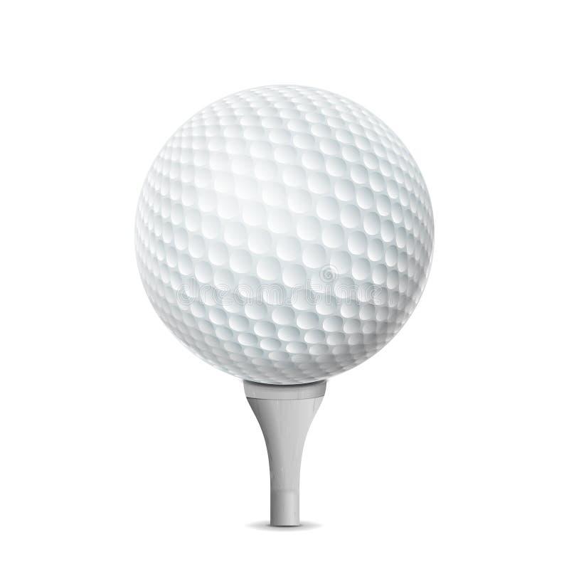 Pelota de golf en la te blanca Ejemplo realista del vector aislado ilustración del vector