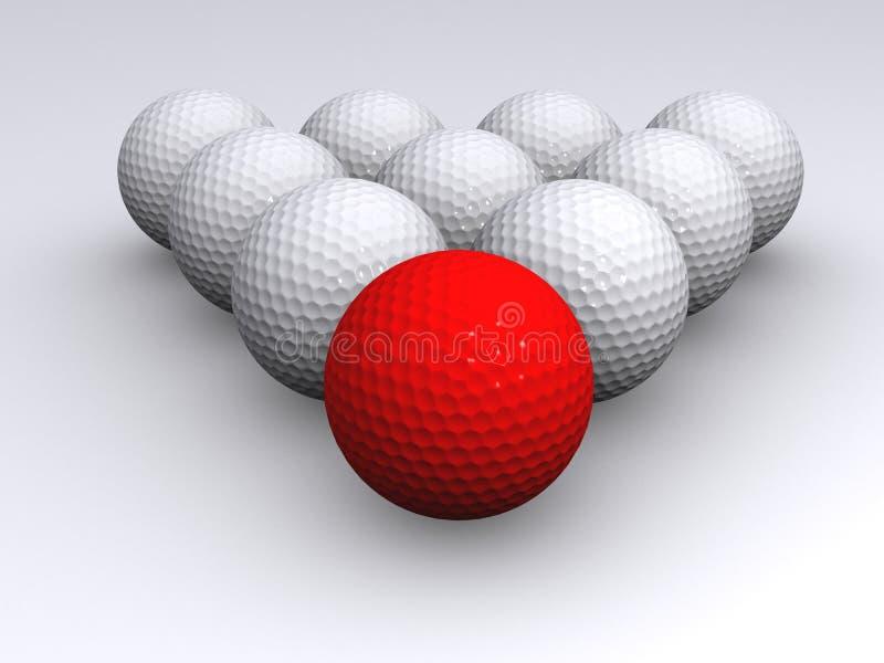 Pelota de golf roja stock de ilustración