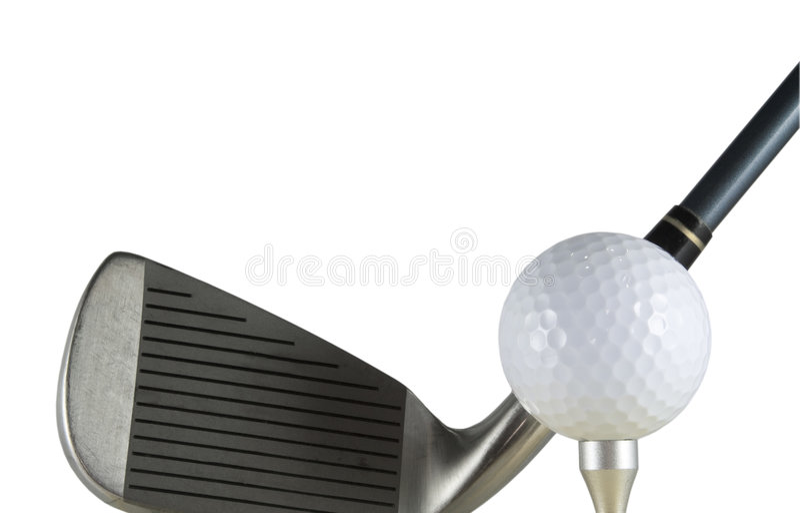 Pelota de golf y club foto de archivo