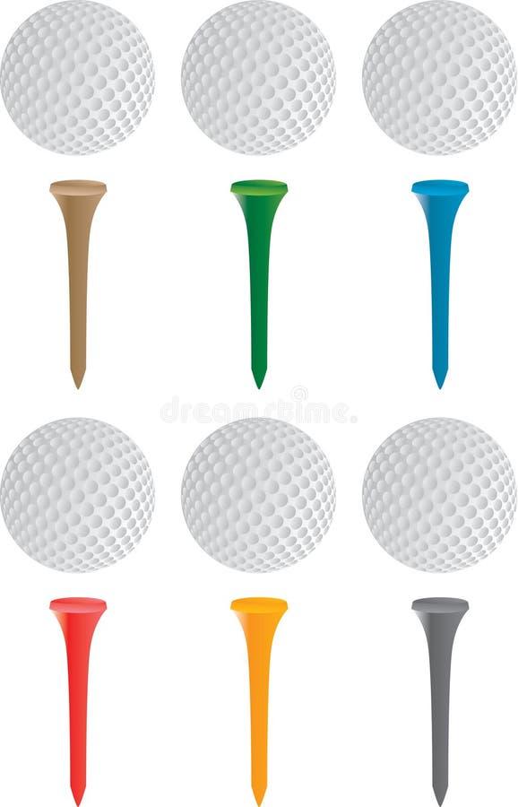 Pelota de golf y tes stock de ilustración