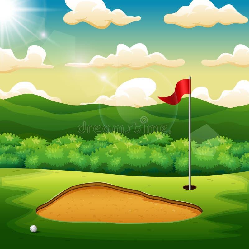 Pelota de golf y una bandera en la colina verde de la corte del golf libre illustration