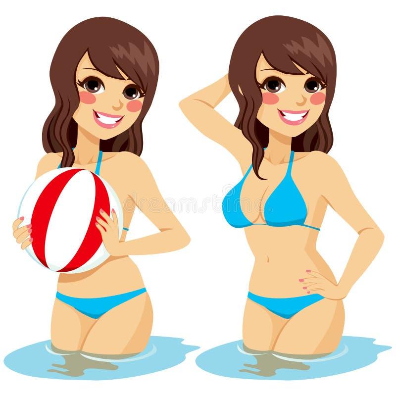 Pelota de playa del agua de la mujer stock de ilustración