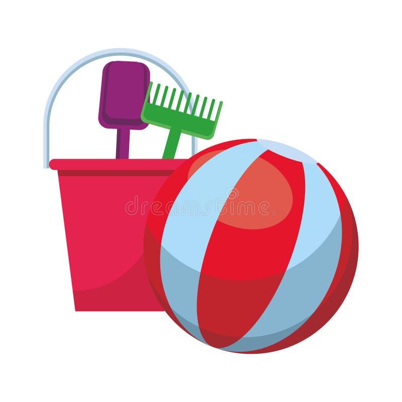 Pelota de playa y juguetes ilustración del vector