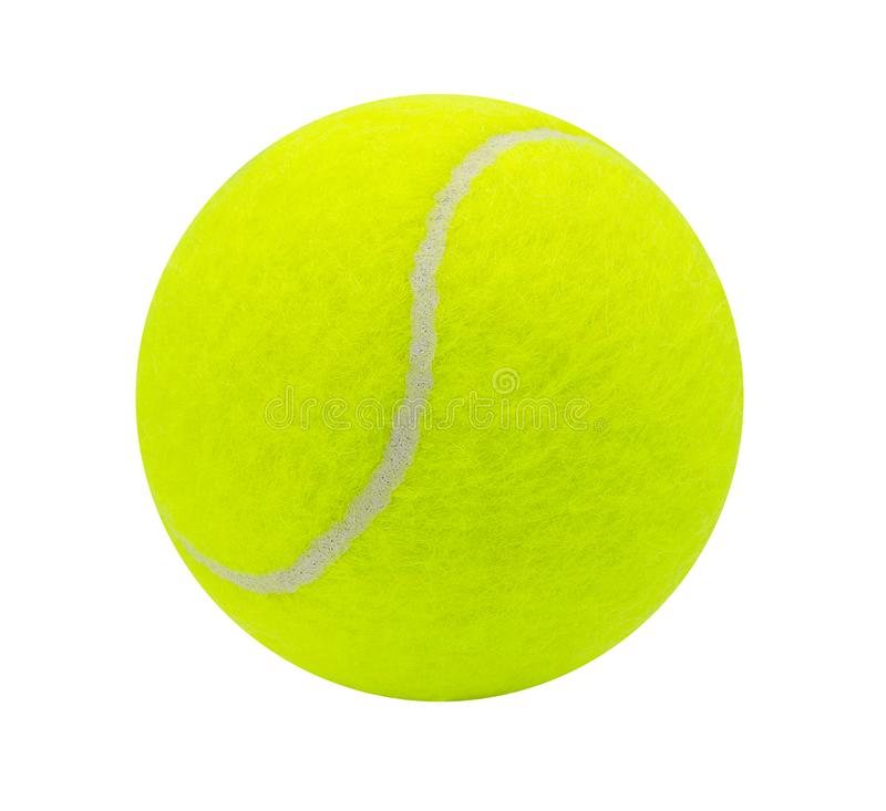 Pelota de tenis aislada en el fondo blanco con la trayectoria de recortes fotos de archivo