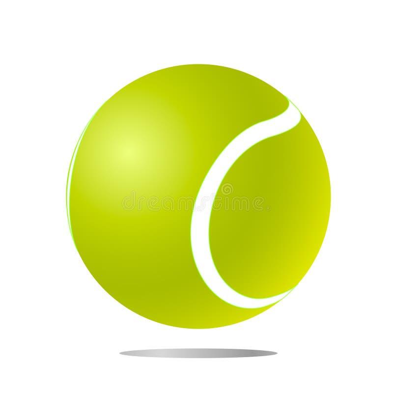 Pelota de tenis aislada verde con la sombra en el fondo blanco Ejemplo del vector de una pelota de tenis libre illustration