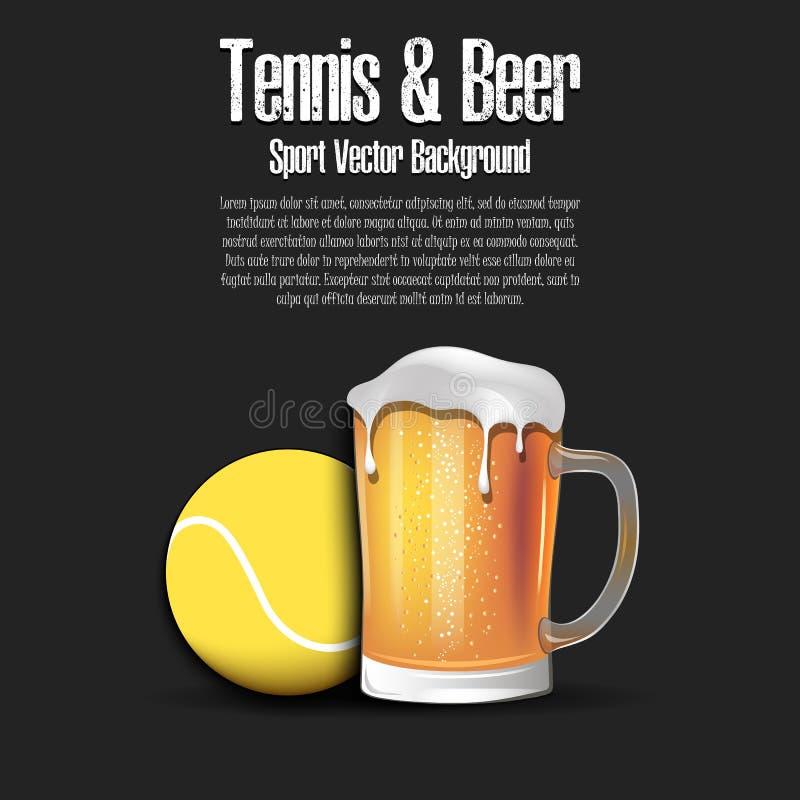 Pelota de tenis con la taza de cerveza libre illustration