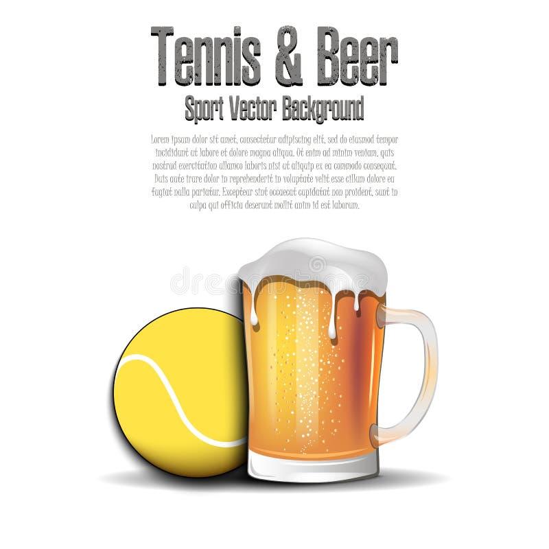 Pelota de tenis con la taza de cerveza ilustración del vector
