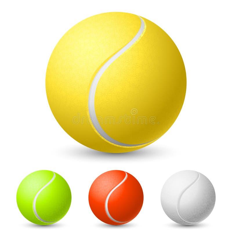 Pelota de tenis realista en diversos colores ilustración del vector