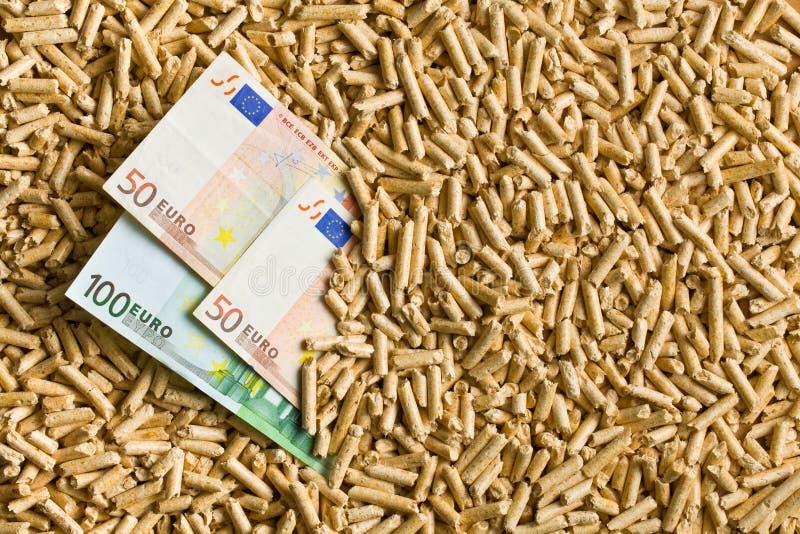 Pelotas com euro- contas fotografia de stock