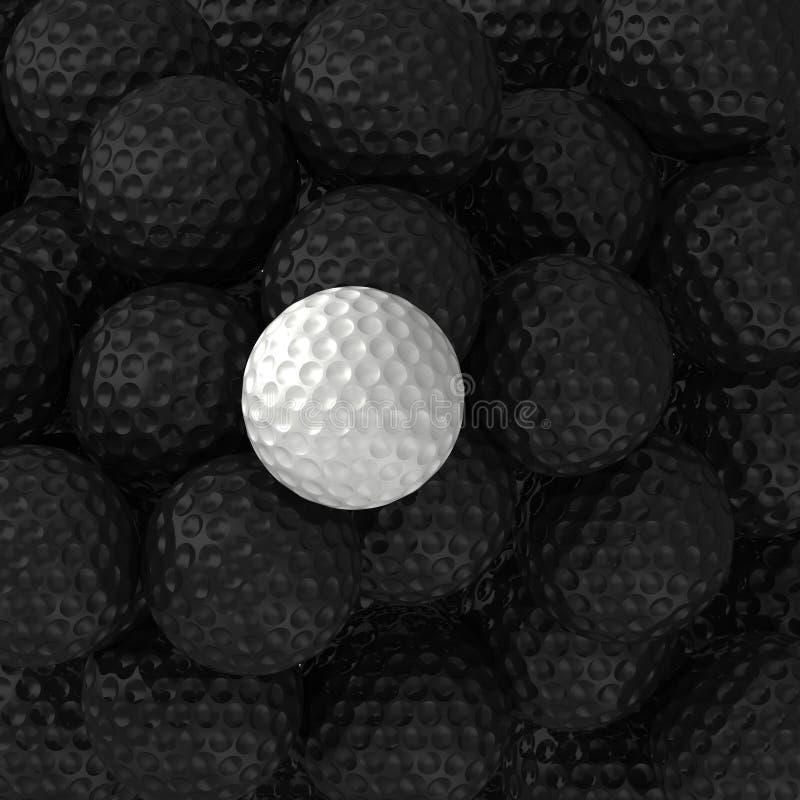 Pelotas de golf blancos y negros foto de archivo