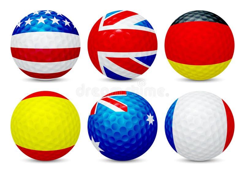 Pelotas de golf fijadas con las banderas stock de ilustración