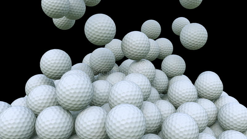 Pelotas de golf múltiples que caen abajo contra fondo negro representación 3d ilustración del vector