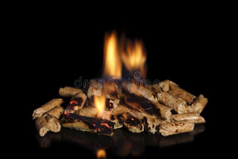Pelotillas de madera ardientes foto de archivo libre de regalías