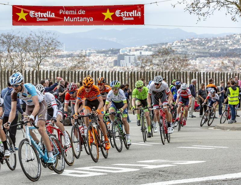 The Peloton in Barcelona - Tour de Catalunya 2016 stock images