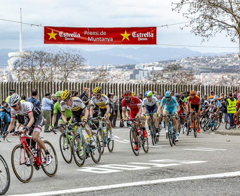 The Peloton in Barcelona - Tour de Catalunya 2016 royalty free stock image