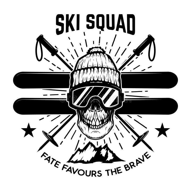 Peloton de ski Crâne extrême avec des skis Concevez l'élément pour l'emblème, signez, le marquez, affiche illustration stock