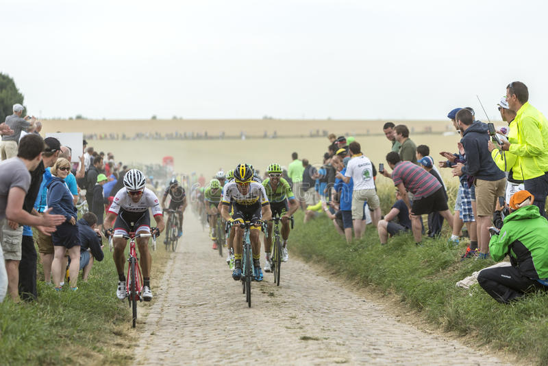 Peloton op Cobblestoned-Road - Ronde van Frankrijk 2015 royalty-vrije stock foto