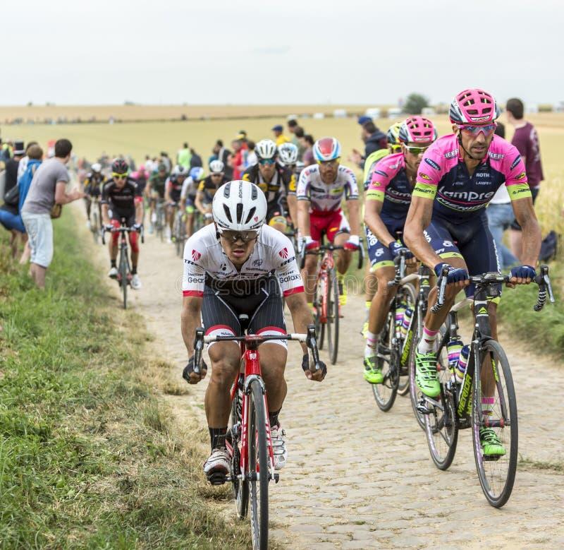 Peloton op Cobblestoned-Road - Ronde van Frankrijk 2015 stock afbeelding