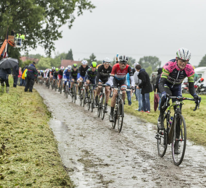 Peloton op een Keiweg - Ronde van Frankrijk 2014 royalty-vrije stock foto's