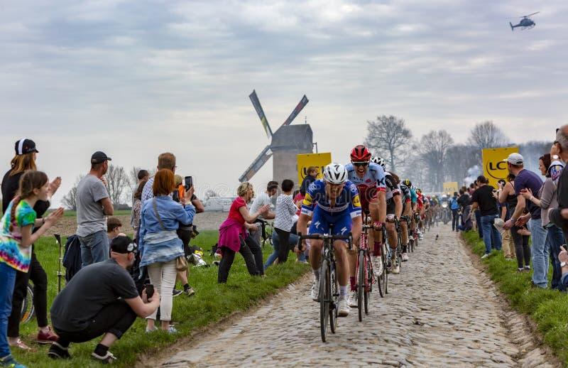 The Peloton - Paris-Roubaix 2018 royalty free stock image