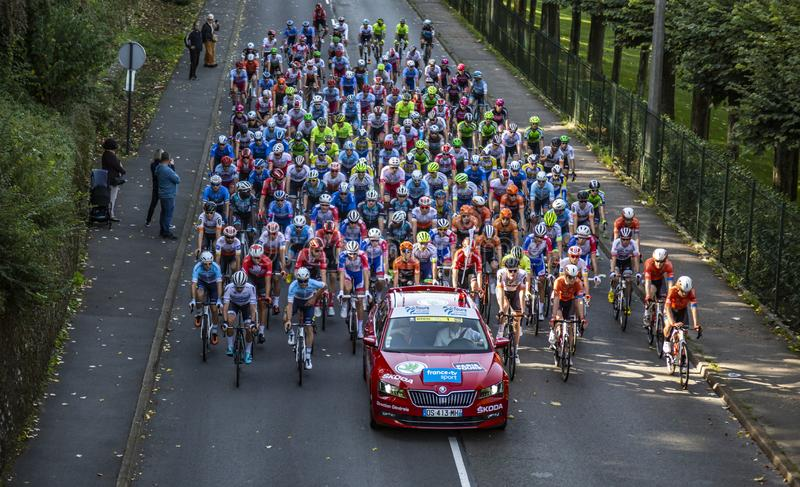 The Peloton - Paris-Tours 2019 stock image