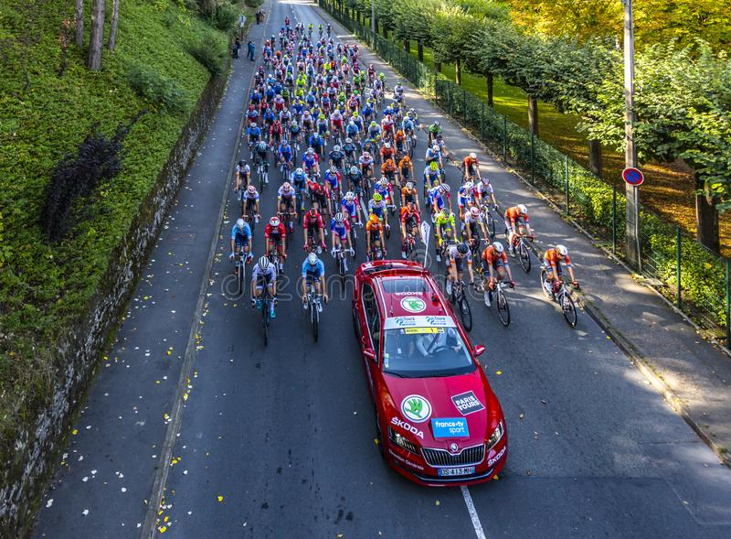 The Peloton - Paris-Tours 2019 royalty free stock images
