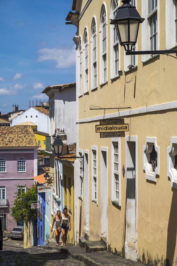 Pelourinho är ett av de mest berömda ställena av Salvador för turnerar arkivbild