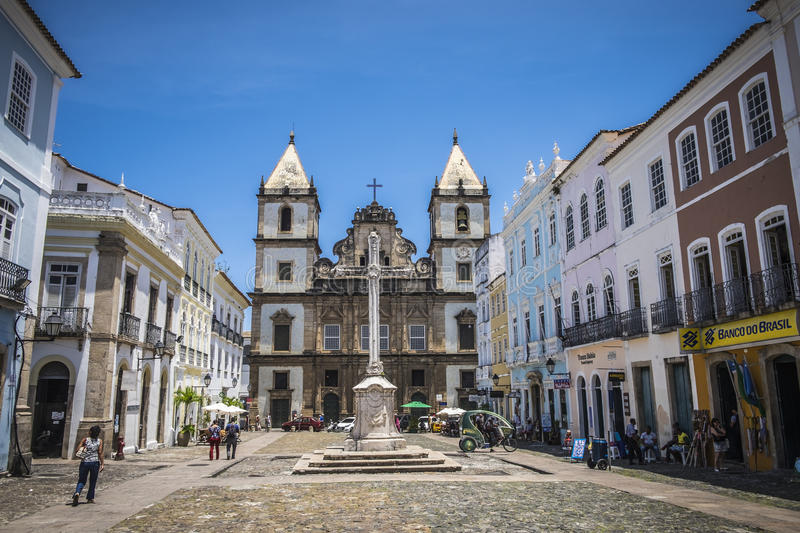 Pelourinho is one of the most famous places of Salvador for tour. Salvador, Brazil - October 26, 2016: Colonial style architecture and souvenir shop at the stock photo
