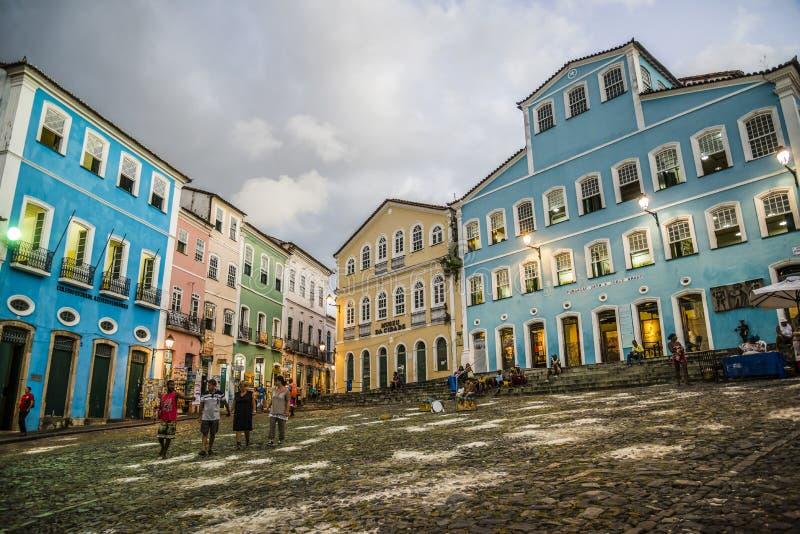 Pelourinho-Quadrat nachts, Salvador, Bahia, Brasilien stockfotografie