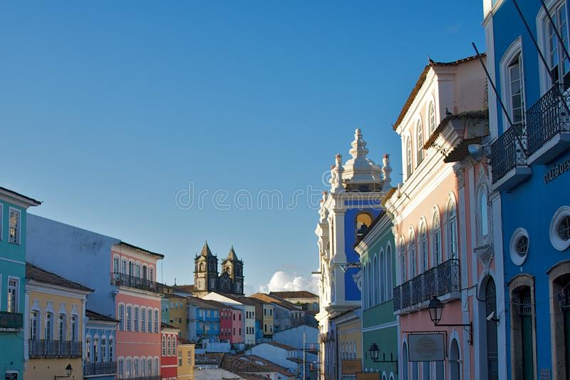 Pelourinho Salvador Bahia. Landscape view of the neighborhoor of Pelourinho,Salvador, Bahia, Brazil. World Heritage Site royalty free stock image