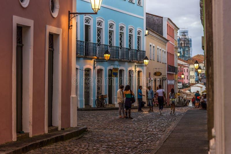 Pelourinho, Salvador Bahia, Brazylia, dziejowy turystyczny centrum obraz stock