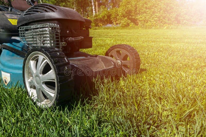 Pelouses de fauchage, tondeuse à gazon sur l'herbe verte, équipement d'herbe de faucheuse, outil de fauchage de travail de soin d images stock