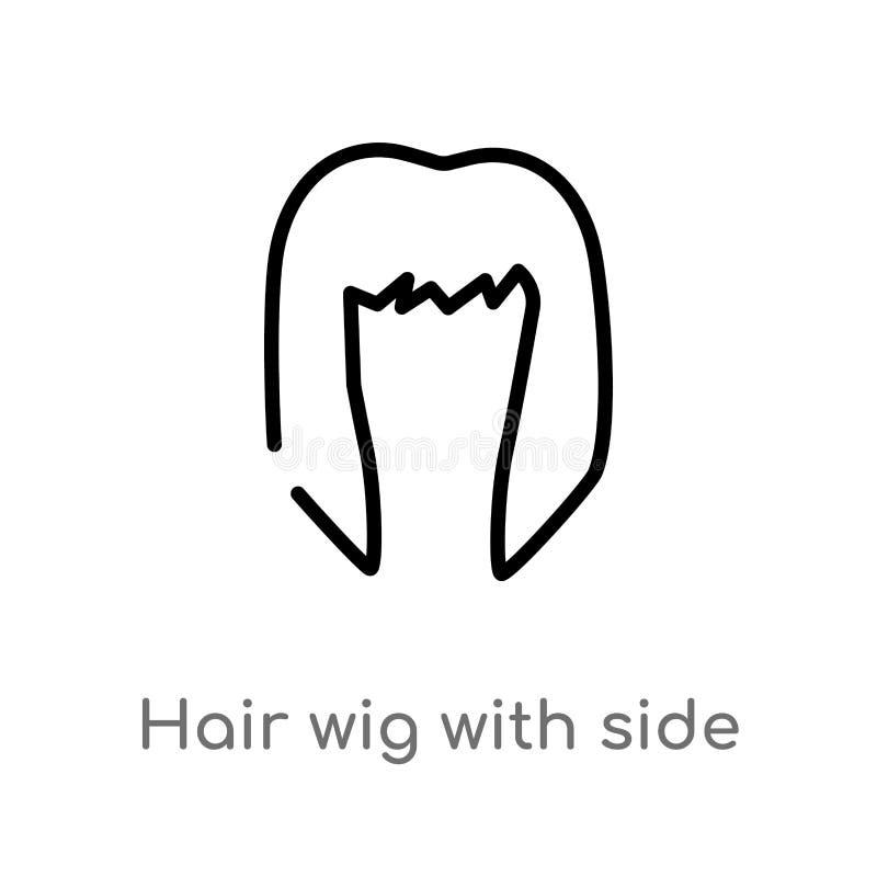 peluca del pelo del esquema con el icono lateral del vector l?nea simple negra aislada ejemplo del elemento del concepto de la mo ilustración del vector