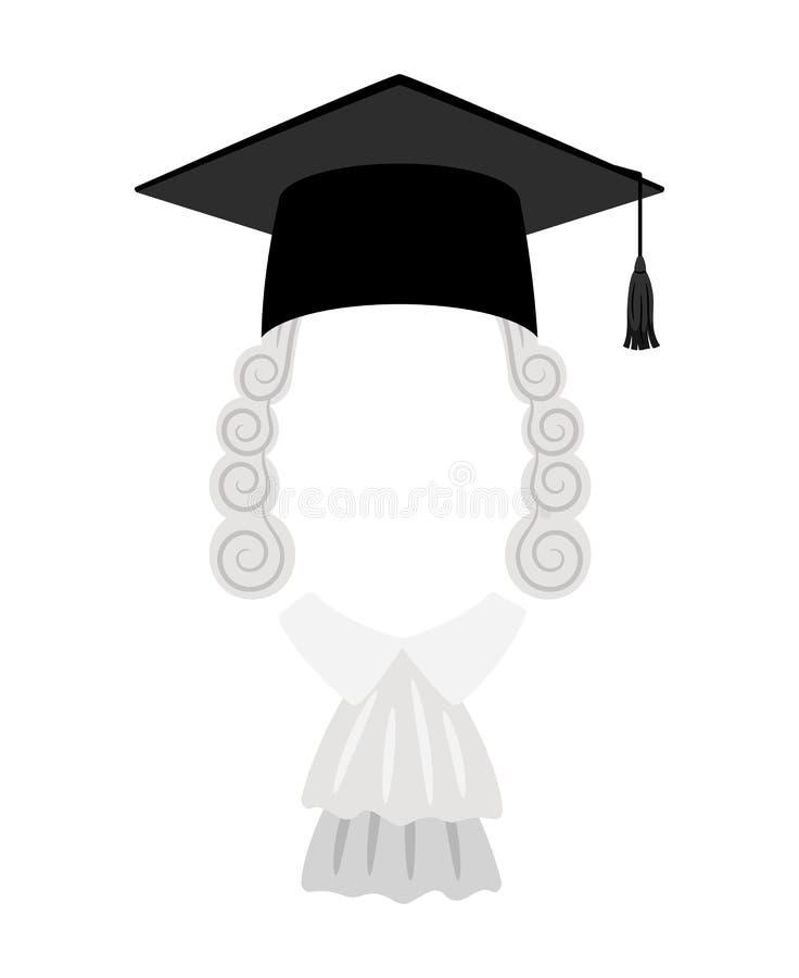 Peluca y sombrero de los jueces con el lugar para la cara ilustración del vector