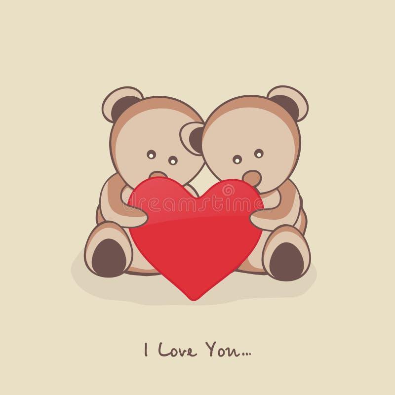 Peluche bonito com coração para a celebração do dia de Valentim ilustração do vetor