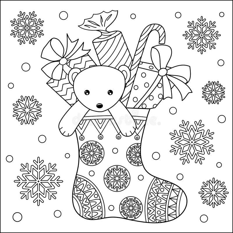 Peluche bonito e presentes do urso na página da coloração da peúga ilustração royalty free