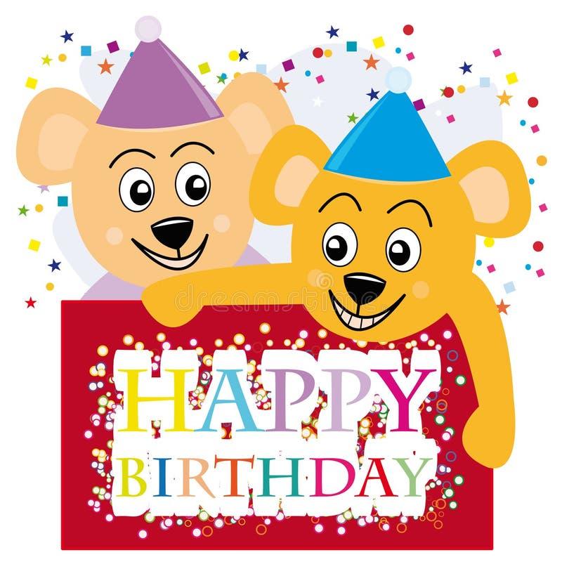 A peluche carrega desejar um feliz aniversario ilustração stock