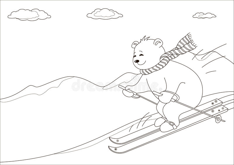 Peluche-carregue céus nas montanhas, contornos ilustração royalty free
