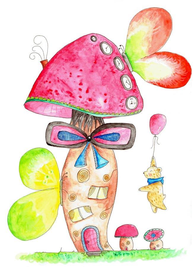 Peluche con el globo que visita una casa de la seta de la fantasía stock de ilustración