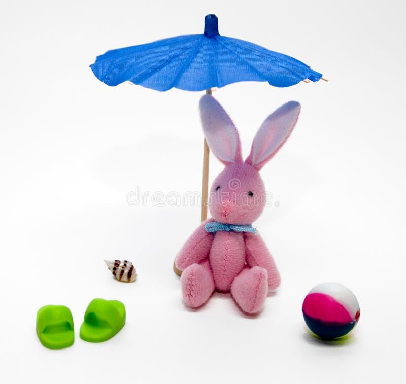 Peluche del conejo de conejito en la playa