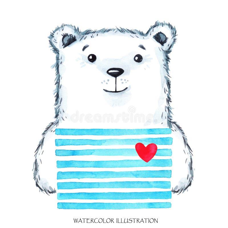 Peluche moderna da aquarela no desgaste brilhante Animal bonito Urso ilustração dos desenhos animados das crianças Pode ser impri ilustração royalty free