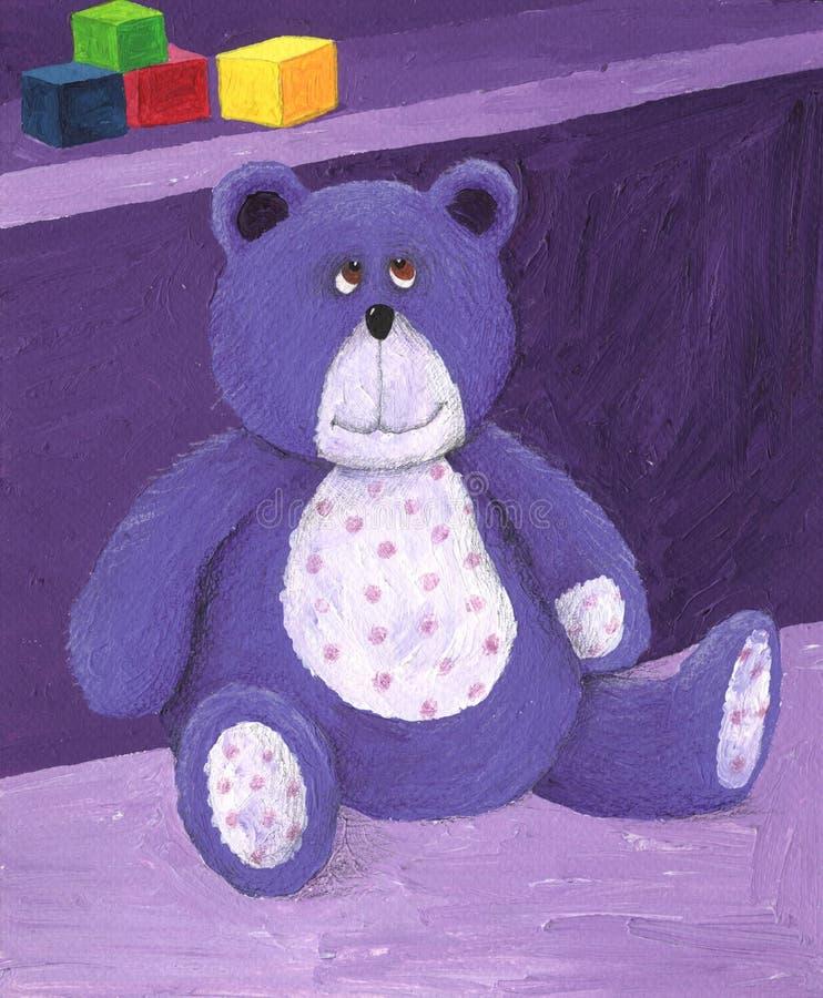 Peluche púrpura que se sienta en el estante ilustración del vector