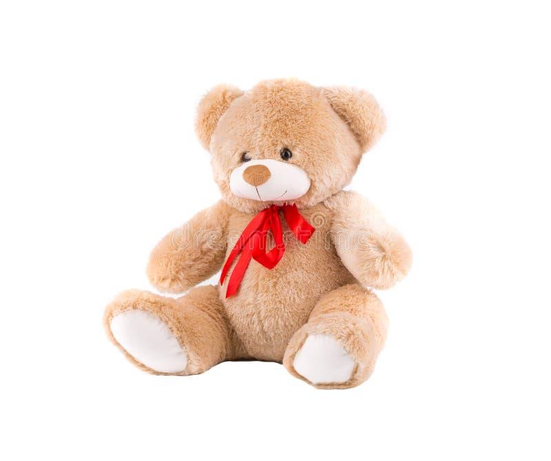 Peluche-urso clássico com curva vermelha imagem de stock