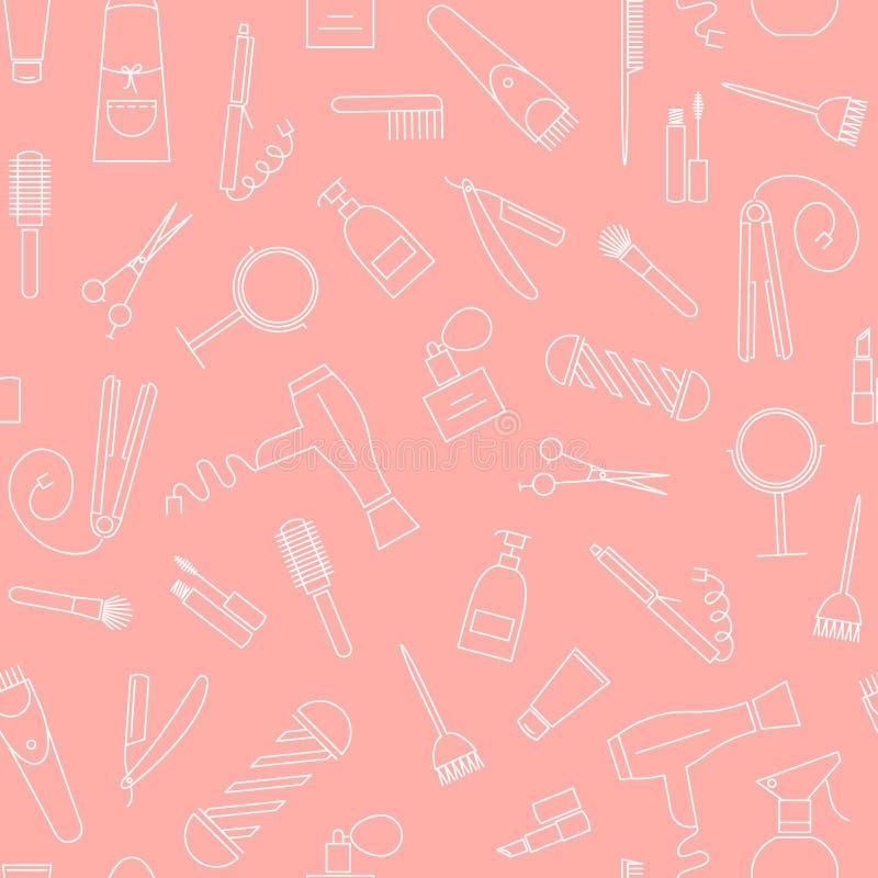Peluquería de caballeros, salón de belleza e iconos lineares mínimos del peluquero en fondo coralino en colores pastel ilustración del vector