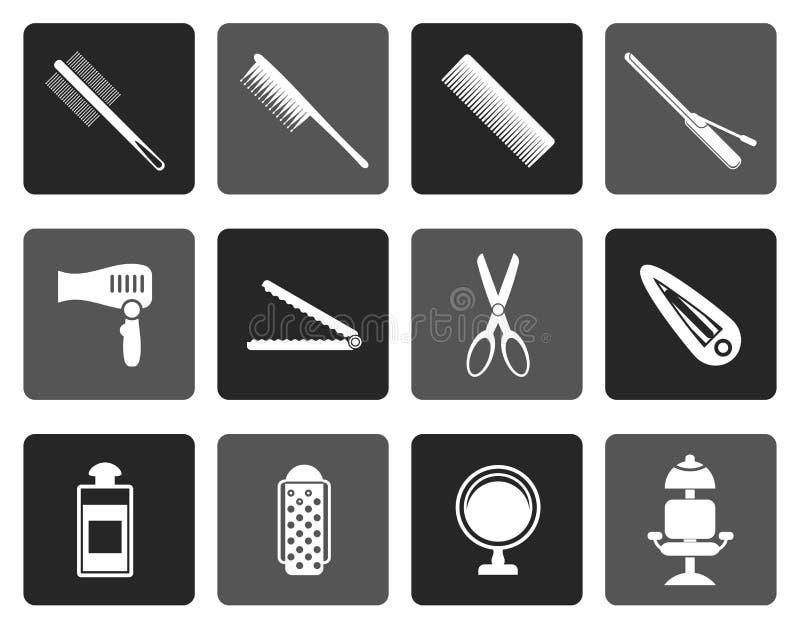 Peluquería de la silueta, tocado e iconos del maquillaje ilustración del vector